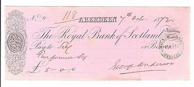 THE ROYAL BANK OF SCOTLAND cheque from 1872