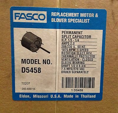 ~Discount HVAC~ FS-D5458 - Fasco Condenser Fan Motor 1/3-1/4HP 208/230V Rev Rot