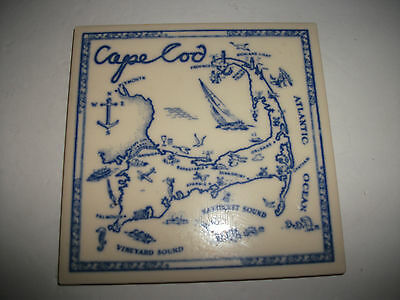 (Price Reduction) On A Antique Mosaic Cape Cod Tile Map Or Trivet