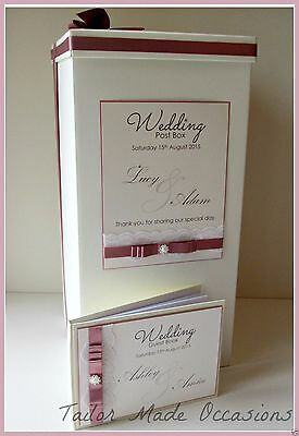 Beautiful Personalised Wedding Post Box & Guest Book. Lace,Diamantes or Pearls.