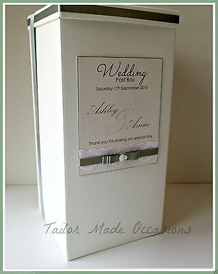 Stunning Personalised Wedding Card Post Box. Lace, Diamantes, Pearls.Any colour!