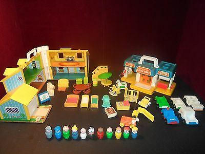 Vintage Fisher Price Little People Play family YELLOW House #952 + Market EXTRA!