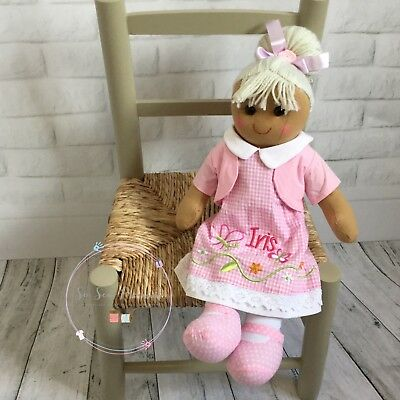 Personalised embroidered rag doll, Butterfly, new baby. christening, 40cm