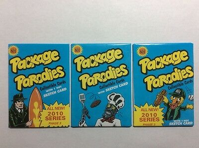 2010 Newhamm Package Parodies Phase 3 (3) Sealed Wax Packs Wacky