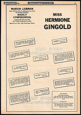 HERMIONE GINGOLD__Original 1969 Trade AD promo / poster__Highly Confidential