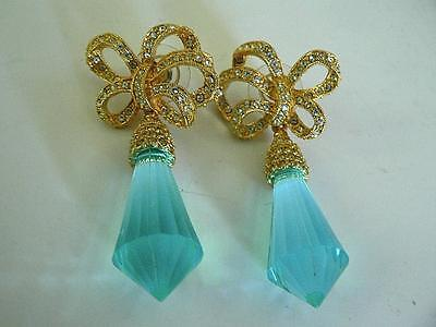 Owned By Joan Rivers Estate Aquamarine Crystal Bow Drops  Pierced Earrings