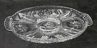 """Large Gorgeous Vintage Lead Crystal 5 Section Pinwheel Oval Handle Tray Dish 14"""""""