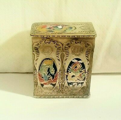 Vintage Chinese Metal Hairpin Box w/ Cloisonne Enamel Phoenix & Dragon Designs