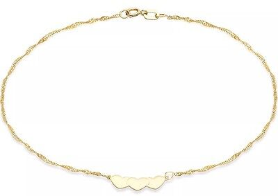 9ct Solid YELLOW GOLD  3 Heart On Chain Bracelet UK + FREE Gift