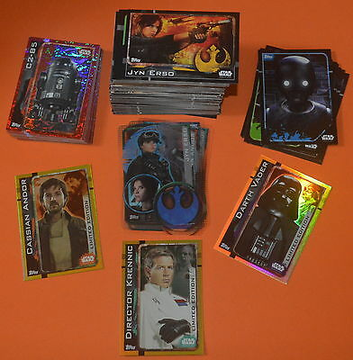 Topps Star Wars Rogue One Trading card FULL SET (212 Cards) with 3 Limited cards