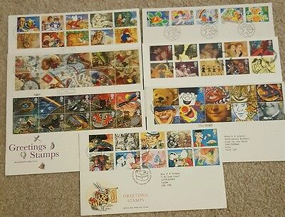 GB Excellent Collection GB Greetings stamps FDCs for 1989-1995 Special postmark