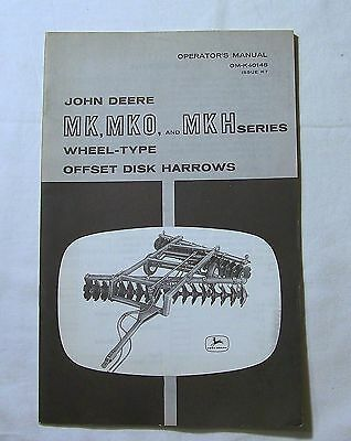 John Deere MANUAL OM-K40148 MK MKO MKH Series Wheel-Type OFFSET DISK HARROWS