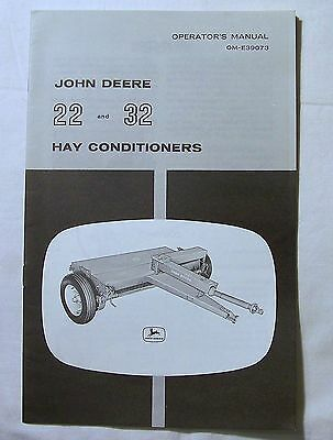 John Deere OPERATOR'S  MANUAL OM-E39073 John Deere 22 and 32 Hay Conditioners