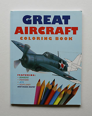 Great Aircraft Coloring Book & 24 Crayola Colored Pencils Fighters, Jets