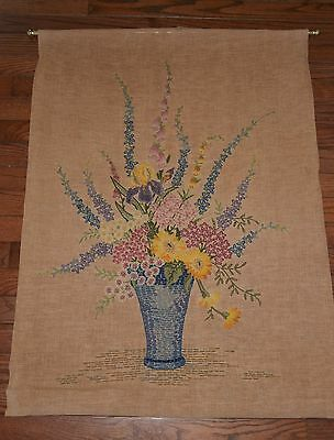 Vintage Retro Crewel Embroidery Floral Flowers  Kitsch Wall Art Rod Lined