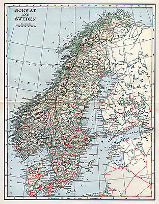 Norway Sweden Map Antique Dodd Mead 1920's Wall Decor Scandinavia 1927