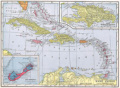 West Indies Caribbean Map British Columbia Canada Vintage 1940's Color Detailed