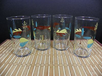 Vintage Funky Atomic Autumn Leaves Hi-Ball Glass Tumblers by Libbey MCM