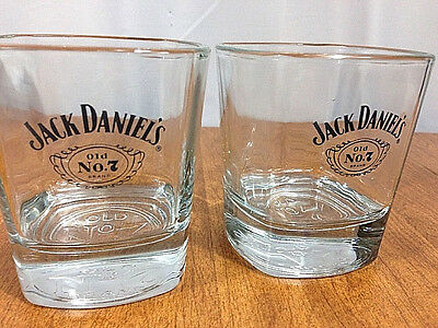 Set of 2 Jack Daniels Old No 7 Tennessee Whiskey Square 8 Oz Glasses