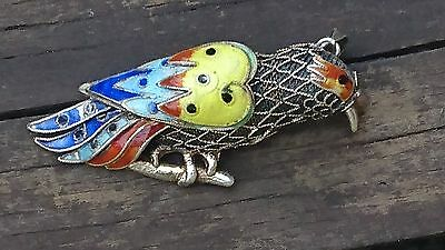 Old Vintage Chinese Silver Filigree & Enamel Bird Pendant/brooch-Pin China