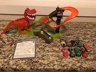 Hot Wheels T Rex Takedown Track Play Set Complete Dinosaur 9 Cars Instructions