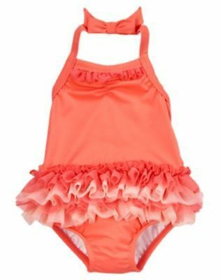 NWT Gymboree Swimsuit coral Tutu halter 18 -24mo 2T Toddler Girls