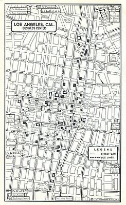 Los Angeles Kansas City Downtown Maps 1950s Original US City Business Center