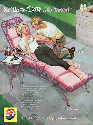 1959 Pepsi Ad Young Couple Pink Patio Chaise Roy Besser Art