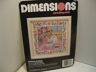 NEW 1990 Dimensions Needlepoint Teacup Floral Kit 5x5