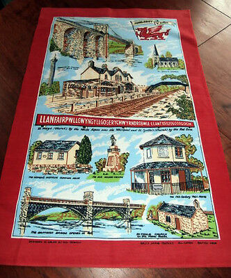 Vintage Cotton Tea Towel Anglesey Wales Sally Jayne Textiles 19 by 30