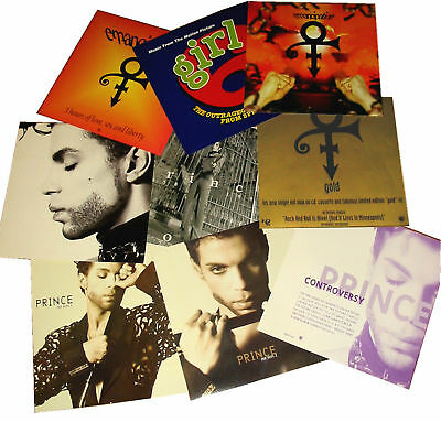 PRINCE DISPLAY POSTER set 8 UK and US PROMO CARDS Rare