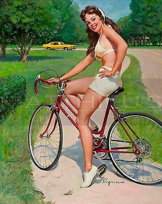 Gil Elvgren-Girl On Bicycle, Canvas/Paper Print, Pinup Girl