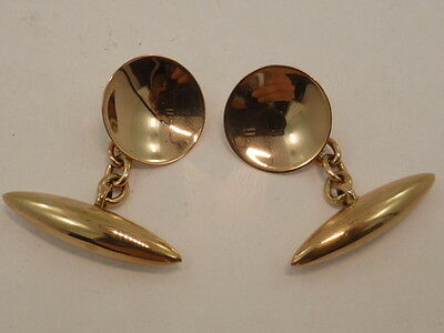Antique Vintage 9ct Solid Rose Gold Plain Round Concave Chain Gents Cufflinks
