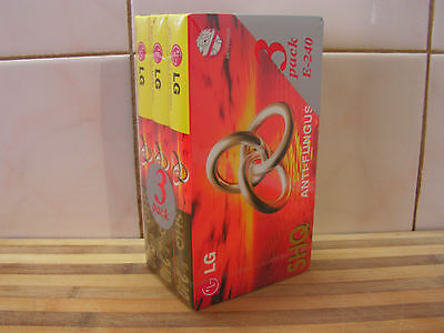 3 Pack LG SHQ E-240, Blank VHS Tapes, Anti-Fungal, Brand New & Sealed, Video