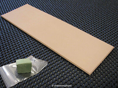 "Leather Strop Tools And Knives 2 Sided With Green Sharpening Compound 9"" x 3"""