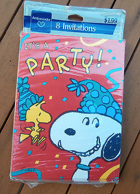 Vtg Snoopy Peanuts All Occasion Party Invitations Hallmark 8 cards NEW SEALED