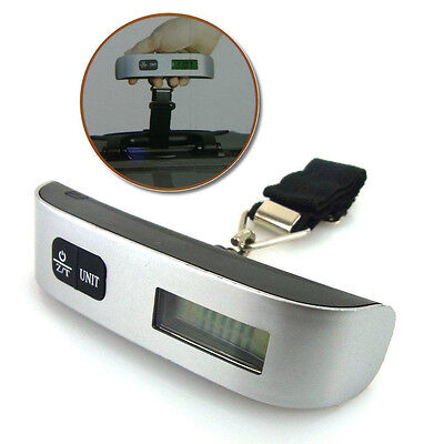 Portable Luggage scale 50kg/10g Silber Digital with LCD Display Suitcase Travel