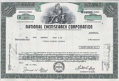 National Chemsearch Corporation, Delaware, 1974 (960 Shares)