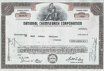 National Chemsearch Corporation, Delaware, 1973 (50 Shares)