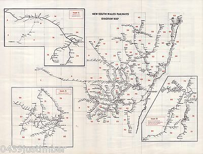 New South Wales Railways Map..Showing the Lines in Use..Late 1950's A3 size copy