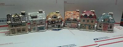 Christmas JSNY TAIWAN VILLAGE HOUSE Ceramic small votive candles lot of 6