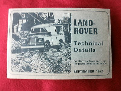 Land Rover 88  109 Technical  Specification Guide 1972