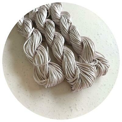 20m LIGHT GREY nylon cord 1mm macrame braided beading rattail kumihimo knot