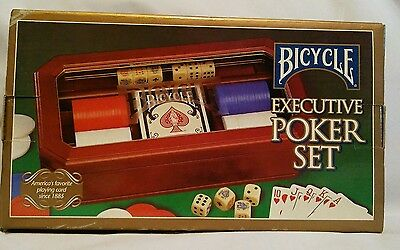 NEW - Bicycle Executive Poker Set In Wood Box with glass center lid
