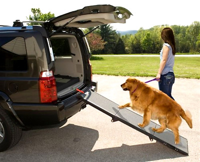 "Pet Gear Tri-Fold Ramp 71"" Extra Wide Pet Ramp Hold 200lbs Black Gray No Carpet"