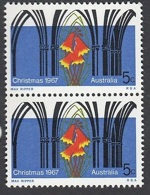 1967 Australia 5c Christmas block of 2 x 5c stamps, MNH