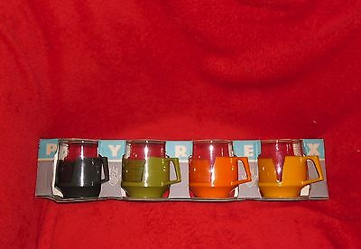 Vintage Cup Holders Plastic Glass cup x4 Pyrex JAJ England retro 60s 70s Boxed