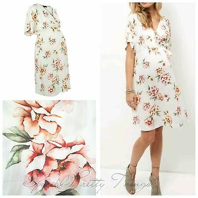 Ex New Look Pregnancy Cream Floral Print Tie Wrap Maternity Dress 8-18 NEW