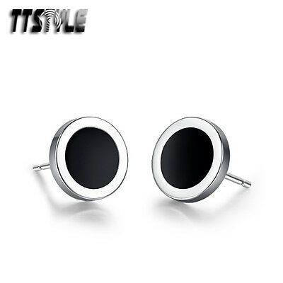TTstyle Stainless Steel Round Stud Earrings 8mm/10mm Available NEW