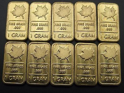 1 gram maple bullion bar selector TIN NICKEL SILVER TITANIUM BRASS GOLD .999